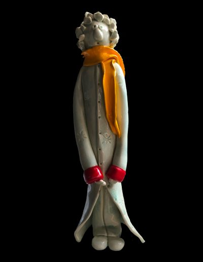 Sculpture - céramique - art naïf - Saint Exupéry - vert clair