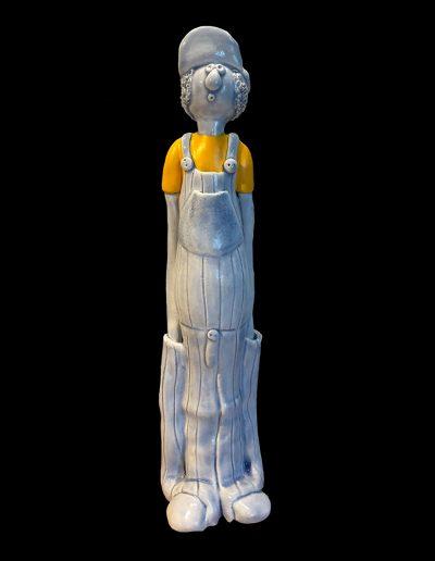 Sculpture - céramique - art naïf - Coluche - bleu - jaune