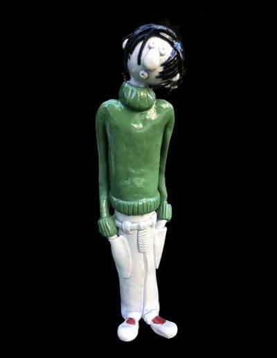 Sculpture - Gaston Lagaffe - pull vert - céramique