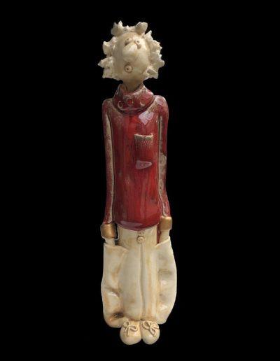Sculpture - céramique - personnage naïf - émail – Rouge