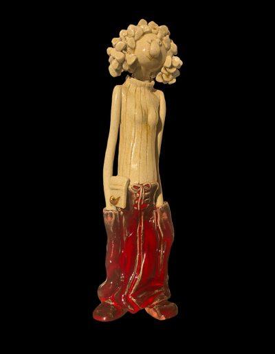 Sculpture - personnage - céramique - naïf - rouge - nike