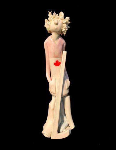 Sculpture - céramique - naïf - crème - joueur de hockey - Canada