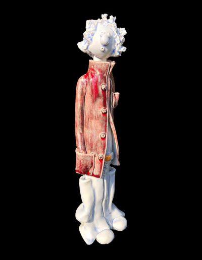 Sculpture - céramique - naïf - bleu - rouge