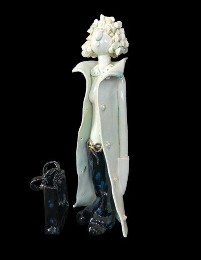 Sculpture - céramique - personnage - naïf - émail - bleu