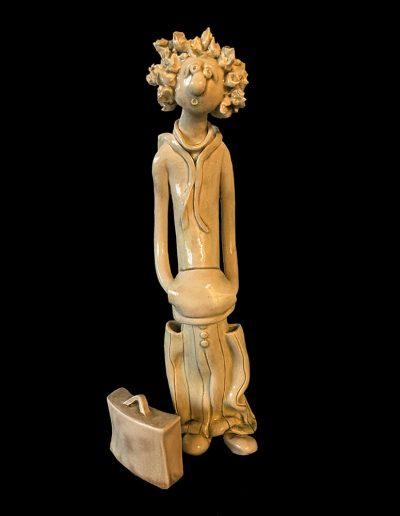 Sculpture - céramique - personnage - naïf - émail - moka