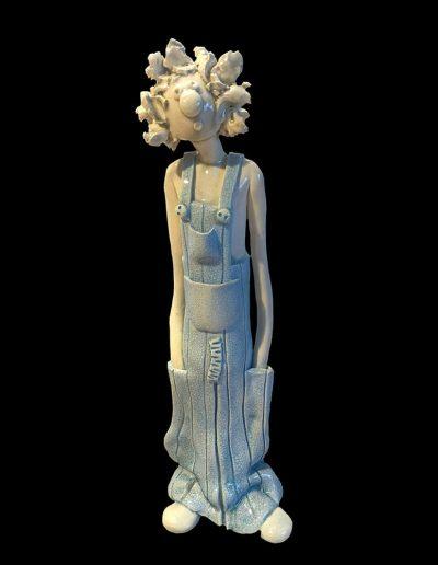 Sculpture - personnage - céramique - naïf - blanc
